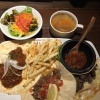 牛肉のタコス3種盛(タコス3種盛、サラダ、スープ)