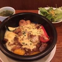 焼きチーズカレー サラダ、スープ付き