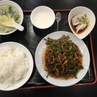 リアル青椒肉絲 定食 自家製水餃子、自家製漬物、日替りスープ、ご飯、自家製杏仁豆腐