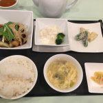 鶏肉団子の黒酢ソース+B.茄子と豚肉の四川風唐辛子炒め +小菜・ご飯・スープ・香の物