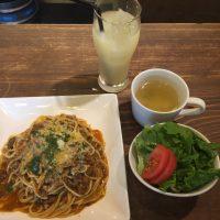 北海道滝川市赤平合鴨と蝦夷鹿のラグー  サラダ+スープ+グレープフルーツジュース